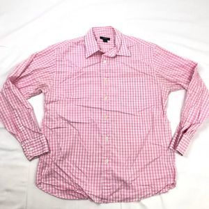 J Crew Mens Plaid Checks Button Up Pink Medium